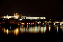 Prague castle at night. With reflection on river Royalty Free Stock Photography