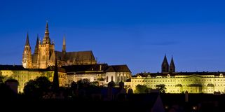 Prague Castle at night. Prague Castle is a castle in Prague where the Czech kings, Holy Roman Emperors and presidents of Czechoslovakia and the Czech Republic Royalty Free Stock Photography