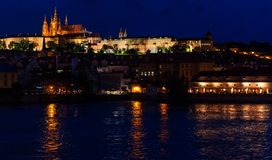Prague Castle from at night. Prague Castle from Charles bridge at night Stock Photos