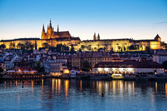 Prague castle by night Stock Images