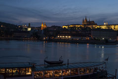 Prague castle at night czech republic europe Stock Images