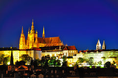 Prague Castle at Night, Czech Republic Stock Image