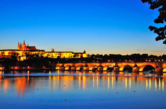 Prague Castle at Night, Czech Republic Stock Photos