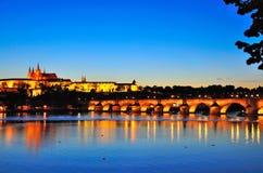 Prague Castle at Night, Czech Republic Stock Photos