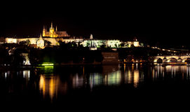 Prague castle night reflection Stock Image