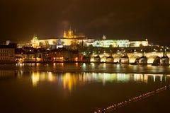 Prague castle at night Stock Photo