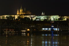 Prague Castle at night. View at the Prague Castle from the viewing platform near the Charles Bridge. Night shot, rain Stock Images