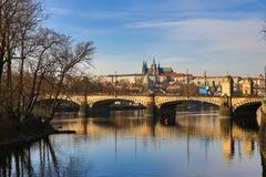 Prague Castle, Old Buildings, Moldau, Street: Smetanovo nábřeží, Lesser Town, Prague, Czech Republic Royalty Free Stock Images