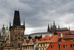 Prague Castle and Old City Rooftops, Czech Republic Stock Photo
