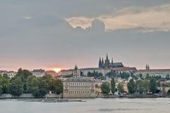 Prague Castle over Vltava River Royalty Free Stock Photography