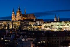 Prague Castle over Vltava river Stock Photos