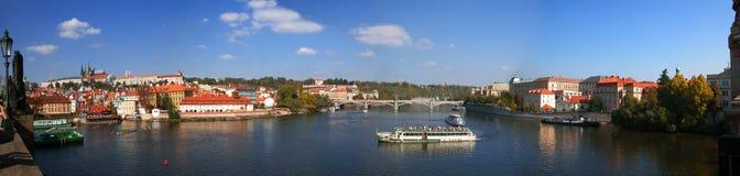 Prague castle panorama. A View to Vltava river, Charles bridge and Prague castle in Czech Republic Stock Photos