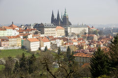 Prague Castle from Petrin Park Stock Photos