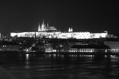Prague Castle, Prague, Czech Republic (B&W). Black & white shot of Prague castle at night stock photo