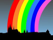 Prague castle with rainbow Stock Image