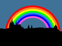 Prague castle with rainbow Stock Photography
