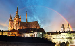 Prague Castle with rainbow - Czech republic Royalty Free Stock Photos