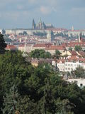 The Prague Castle and the red roofs. The Prague Castle, Czech Republic Stock Images
