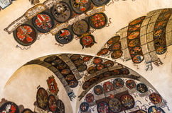 Prague Castle, Registry Office with czech heraldics. Prague Castle. Ceiling of room containing land heraldics in Registry Office. Old Royal Palace. Czech Stock Photography