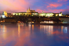 Prague Castle from river at sunrise - Czech Stock Images