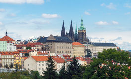 Prague Castle and Saint Vitus Cathedral, Czech Republic. Panoramic view Stock Photos