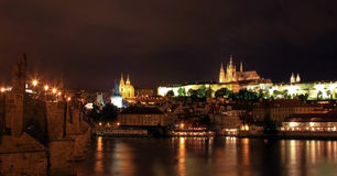 Prague Castle and Saint Vitus Cathedral at night Stock Photography