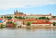 Prague castle and Saint Vitus cathedral Stock Photos