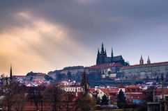 Prague Castle seen across the river Stock Image