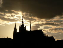 Prague Castle silhouette Stock Photos