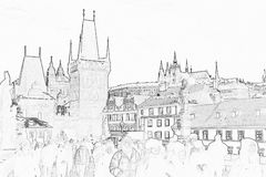 Prague Castle Sketch. Sketch of Prague Castle and the Charles Bridge Stock Photos