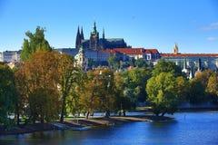 Prague Castle, Sovovy Mlyny, Charles Bridge, Moldau,Prague, Czech Republic Stock Photos