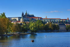 Prague Castle, Sovovy Mlyny, Charles Bridge, Moldau,Prague, Czech Republic Stock Photos
