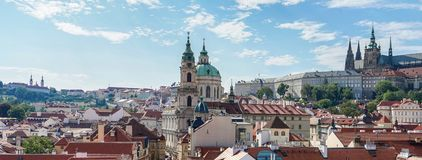 Prague Castle and St. Nicholas Church. View from Charles Bridge to Prague Castle and St. Nicholas Church stock photos