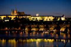 Prague castle, St. Nicolaus church and Charles Bri Stock Photo