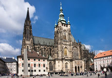 Prague Castle. St Vitus's Cathedral. The Cathedral of Saints Vitus, Wenceslaus and Adalbert is an excellent example of Gothic architecture and is the biggest Stock Images