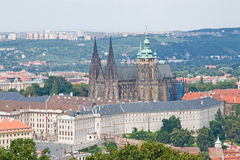 Prague Castle and St. Vitus Cathedral. View of the Prague Castle and St. Vitus Cathedral from the Petrin View Tower stock image