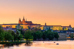 Prague, the Castle and St. Vitus Cathedral at blue hour. Czech Republic Stock Photo