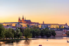Prague, the Castle and St. Vitus Cathedral at blue hour. Czech Republic Stock Images