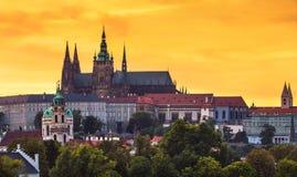 Prague Castle from Charles bridge at sunset Stock Photos