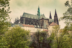 Prague Castle with St. Vitus Cathedral, Hradcany, Czech Republic. Vintage Stock Photo