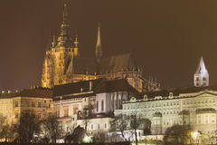 Prague Castle and St. Vitus Cathedral at night in winter Royalty Free Stock Image