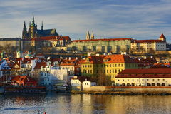 Prague Castle with the St. Vitus Cathedral, old Buildings, Moldau, Prague,  Czech Republic Stock Photography