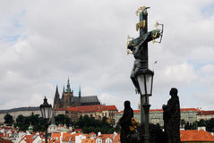 Prague Castle and Statue of the Crucifixion, Czech Republic Royalty Free Stock Photography
