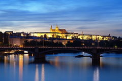 Prague Castle. In the summer evening, view from Palacky Bridge Royalty Free Stock Photos