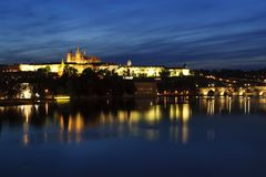 Prague Castle after sunset Royalty Free Stock Images