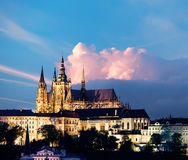 Prague Castle on a sunset Royalty Free Stock Images