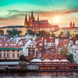 Prague Castle at sunset Royalty Free Stock Photo