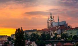 Prague castle on sunset Stock Images