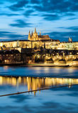 Prague Castle with surrounding buildings across the river Royalty Free Stock Photography