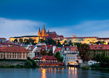 Prague Castle and surroundings in the evening Stock Images